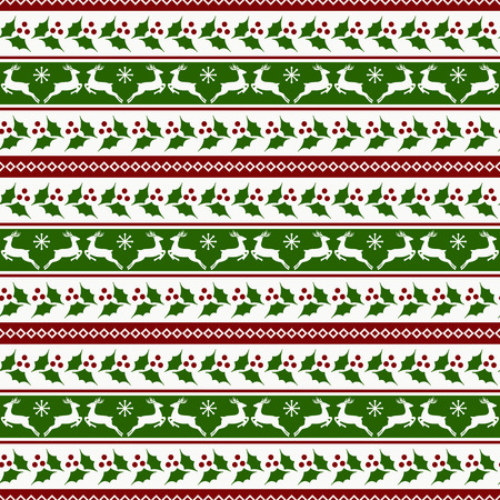 Merry Christmas! Striped background with reindeers and holly. Vettoriali