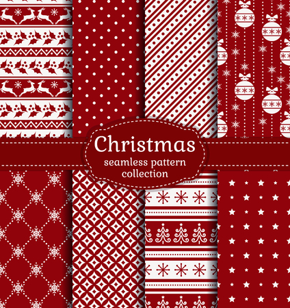 Merry Christmas and Happy New Year! Red and white seamless backgrounds with traditional holiday symbols Ilustração