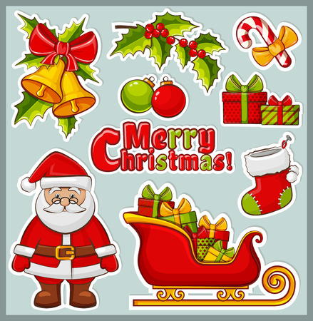 santa sleigh: Christmas and New Year icons. Set of colorful elements for celebratory design. Collection of stickers for the Christmas decorations.