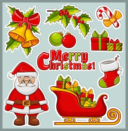papa noel en trineo: Navidad y A�o Nuevo iconos. Conjunto de elementos de colores para el dise�o de celebraci�n. Colecci�n de pegatinas para las decoraciones de Navidad.