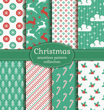 Merry Christmas and Happy New Year! Set of retro seamless backgrounds with traditional symbols: reindeer, fir-tree, holly, candy cane, snowflakes and suitable abstract patterns. Vector collection.