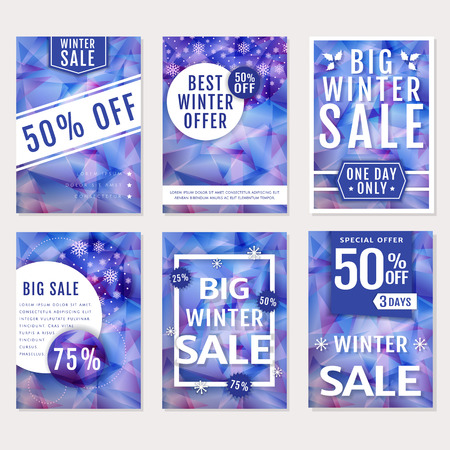 low price: Winter sales and discounts! Set of seasonal advertising banners, flyers or posters. Templates with polygonal backgrounds in purple and white colors. Vector collection.