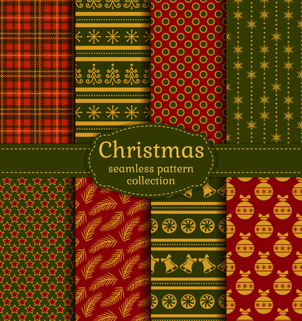 Merry Christmas and Happy New Year! Set of luxury seamless backgrounds with traditional holiday symbols: christmas tree, tree ball, bells, snowflakes and suitable abstract patterns. Vector collection.
