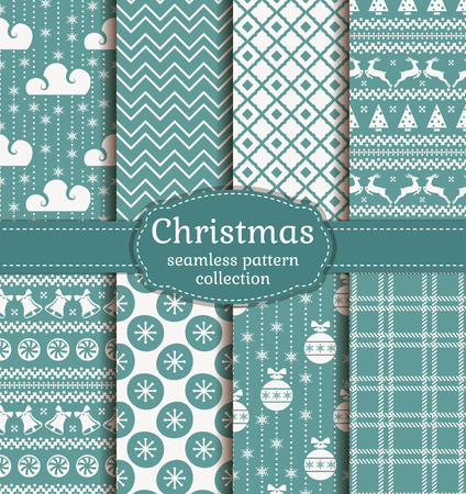 Merry Christmas and Happy New Year! Set of retro seamless backgrounds with traditional winter holiday symbols: christmas ball, deer, snowflakes, bell and suitable abstract patterns. Vector collection.