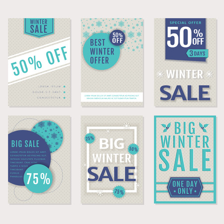 winter sales: Winter sales and discounts! Set of seasonal advertising banners, flyers, posters or labels. Templates in blue, white and pale beige colors. Vector collection.