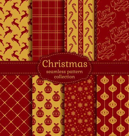 red christmas background: Merry Christmas and Happy New Year! Set of chic seamless backgrounds with holiday symbols: deer, tree balls, candy cane, snowflakes, handwritten text and suitable abstract patterns. Vector collection. Illustration