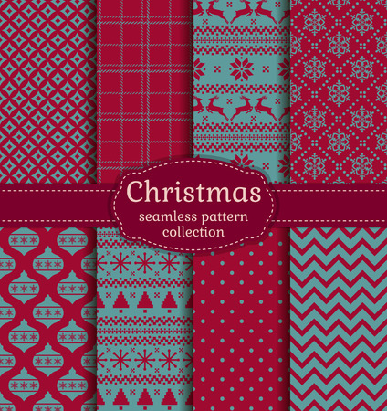Merry Christmas and Happy New Year! Set of winter seamless backgrounds with traditional holiday symbols: christmas tree, tree ball, deer, snowflakes and suitable abstract patterns. Vector collection. Vettoriali