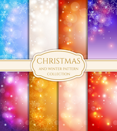 Merry Christmas and Happy New Year! Set of winter and holidays backgrounds with snowflakes, bokeh and space for text. Festive cards of different colors. Vector collection. Vectores