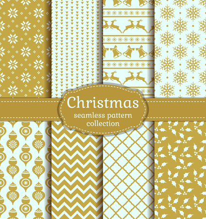 Merry Christmas and Happy New Year! Set of vintage seamless backgrounds with winter holiday symbols: christmas ball, reindeer, holly, bell, snowflake and suitable abstract patterns. Vector collection.