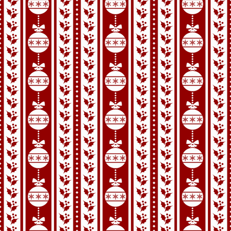bicolor: Merry Christmas and Happy New Year! Red and white seamless pattern with traditional holiday symbols - christmas balls and holly. Vector striped background. Illustration