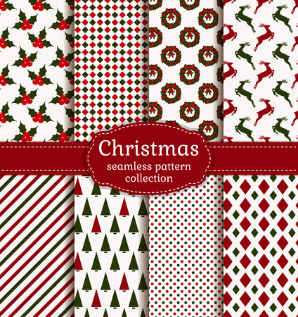 Merry Christmas and Happy New Year! Set of holiday backgrounds. Collection of seamless patterns with white, red and green colors. Vector illustration. Vectores
