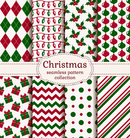 Merry Christmas and Happy New Year! Set of holiday backgrounds. Collection of seamless patterns with red, green and white colors. Vector illustration. Vettoriali