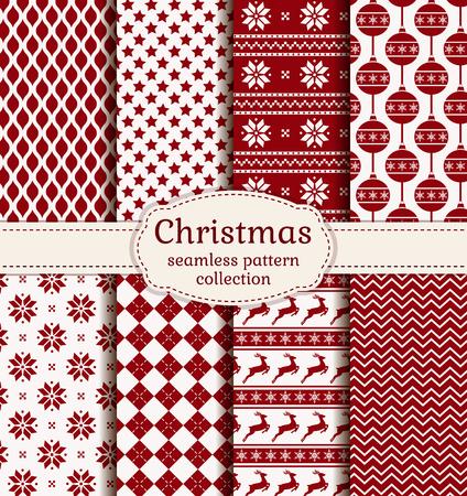 즐거운 성탄절 보내시고 새해 복 많이 받으세요! 겨울 휴가 배경의 집합입니다. 빨간색과 흰색 색상 원활한 패턴의 컬렉션입니다. 벡터 일러스트 레이