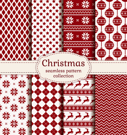 geometric: Merry Christmas and Happy New Year! Set of winter holiday backgrounds. Collection of seamless patterns with red and white colors. Vector illustration.