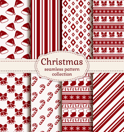 festive pattern: Merry Christmas and Happy New Year! Set of holiday backgrounds. Collection of seamless patterns with red and white colors. Vector illustration. Illustration