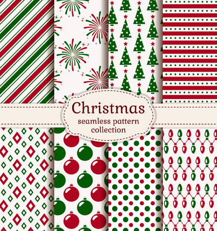 Merry Christmas and Happy New Year! Set of holiday backgrounds. Collection of seamless patterns with red, green and white colors. Vector illustration. Vectores