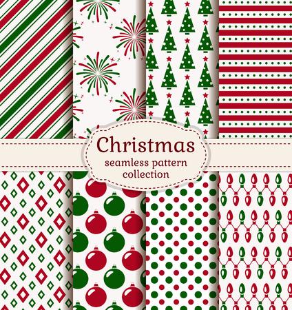 メリー クリスマスと新年あけましておめでとうございます!休日の背景のセット。赤、緑と白の色を持つシームレス パターンのコレクションです。