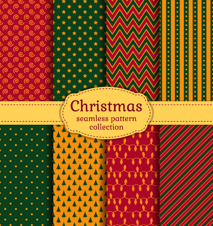 christmas wallpaper: Merry Christmas and Happy New Year! Set of chic holiday backgrounds. Collection of seamless patterns with red, green and yellow colors. Vector illustration.