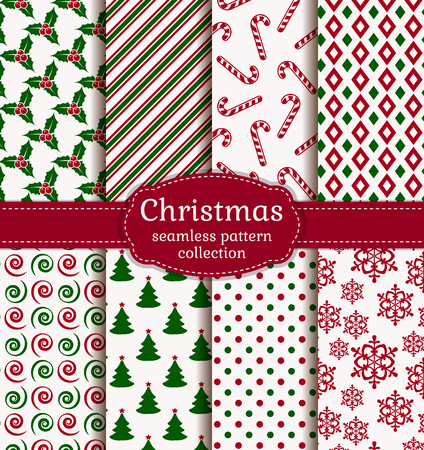 Merry Christmas and Happy New Year! Set of holiday backgrounds. Collection of seamless patterns with white, red and green colors. Vector illustration. Vettoriali