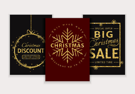 christmas sale and discount templates set of chic banners flyers or labels red