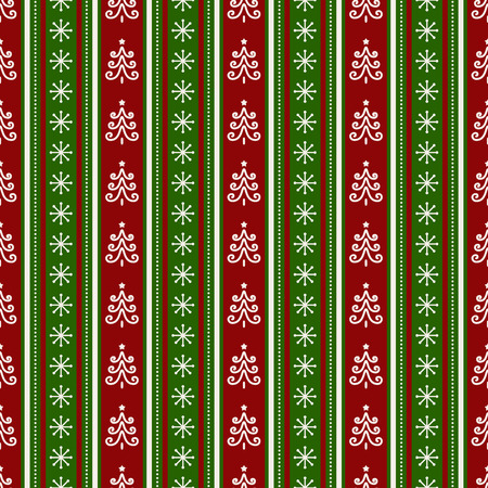 Merry Christmas and Happy New Year! Colorful seamless background with traditional holidays symbols - christmas trees and snowflakes. Striped pattern in white, red and green colors. Vector illustration.