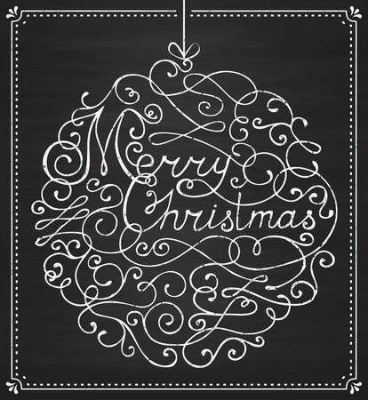 christmas postcard: Merry Christmas! Greeting card with handwritten lettering on chalkboard. Trendy background with typography and hand drawn flourishes in the shape of a Christmas ball. Vector illustration. Illustration
