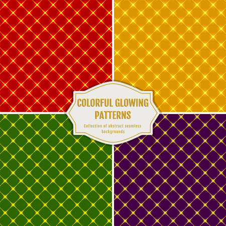 red abstract backgrounds: Seamless patterns in red, yellow, green and purple colors. Set of abstract geometric backgrounds with rhombuses. Glowing collection for holiday design. Vector illustration.