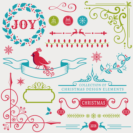 christmas scroll: Set of christmas and new year decorations isolated on white background. Collection of elements for greeting card, party invitations, page and web decor or other holiday design. Vector illustration.
