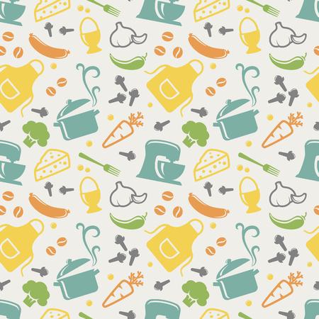 cocineros: Alimentos y patrón transparente de cocina en azul, amarillo, naranja, verde, morado y gris colores pastel. Retro de fondo con los iconos lindos para el tema culinario. Ilustración del vector.