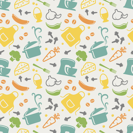 Food and kitchen seamless pattern in blue, yellow, orange, green, purple and grey pastel colors. Retro background with cute icons for culinary theme. Vector illustration. Stock Illustratie