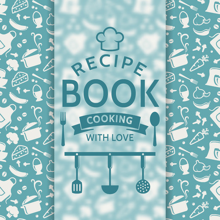 book cover: Recipe book. Cooking with love. Recipe card with silhouette culinary symbols and typographic badge. Vector background in blue and white colors. Illustration