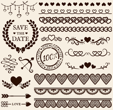 Love, romance and wedding decorations set. Collection of elements for valentines greeting cards, wedding invitations, page and website decor or any other romantic design. Vector illustration.
