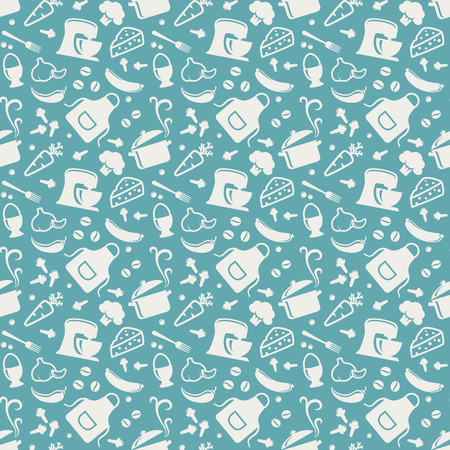 houseware: Food and kitchen seamless pattern. Background with silhouette icons for culinary theme. Vector illustration.