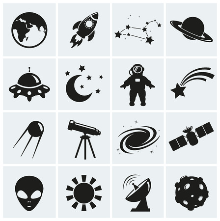Collection of 16 space and astronomy icons. Vector illustration.  イラスト・ベクター素材