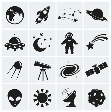 sonne mond und sterne: Sammlung von 16 Raum und Astronomie Symbole. Vektor-Illustration. Illustration