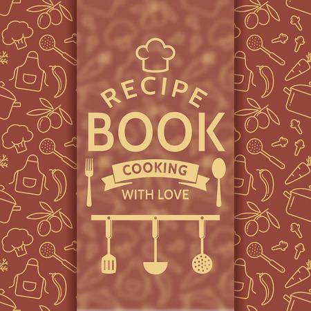 portadas de libros: Libro de recetas. Cocinar con amor. tarjeta de la receta elegante con el esquema símbolos culinarios y placa tipográfica. Vector de fondo en colores marrón y beige.