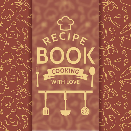 recipe card: Recipe book. Cooking with love. Elegant recipe card with outline culinary symbols and typographic badge. Vector background in brown and beige colors. Illustration