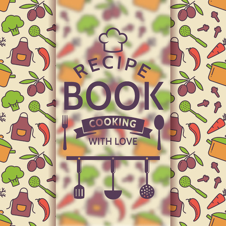 recipe book: Recipe book. Cooking with love. Recipe card with colorful culinary symbols and typographic badge. Vector illustration. Illustration