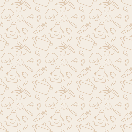 Food and kitchen seamless pattern. Pale background with line icons for culinary theme. Vector illustration.
