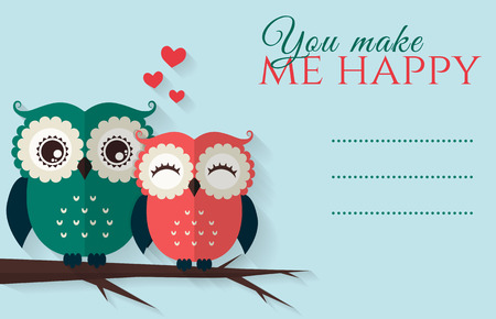 holidays for couples: You make me happy. Romantic card with cute flat owls and place for your text. Vector illustration.