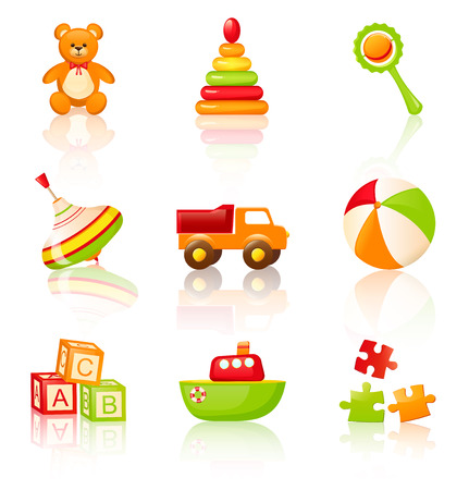 toys: Collection of colourful childrens toys. Vector icons. Illustration