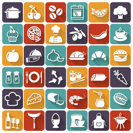 garlic clove: Food and cooking flat icons. Set of white symbols for a culinary theme. Healthy and junk food, fruit and vegetables, spices, cooking utensils and more. Vector collection of silhouette design elements.