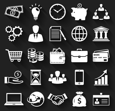 shopping trolley: Business, finance and marketing. White flat icons on a black background. Set of 25 concept symbols with long shadows. Collection of silhouette elements for your design. Vector illustration.