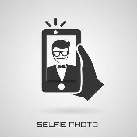 self   portrait: Selfie icon. Trendy man taking a self portrait on smart phone. Vector illustration.