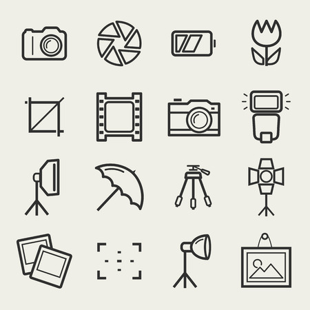 photo frame: Photo icons. Set of 16 symbols for a photographic theme. Vector collection of outline elements isolated on white background.