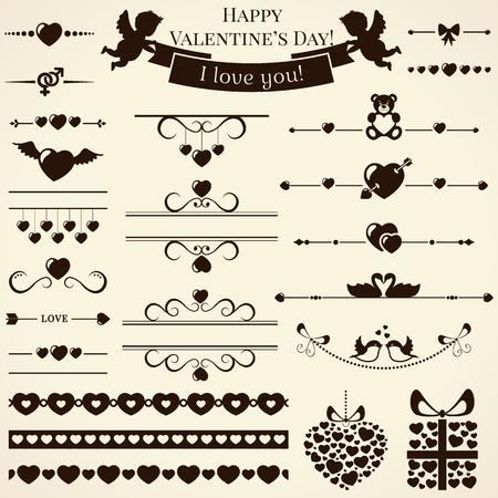 bordure de page: Collection de divers amour et �l�ments romantiques pour la conception et la page d�coration. Vector illustration.