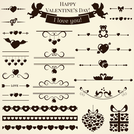 garland border: Collection of various love and romantic elements for design and page decoration. Vector illustration.