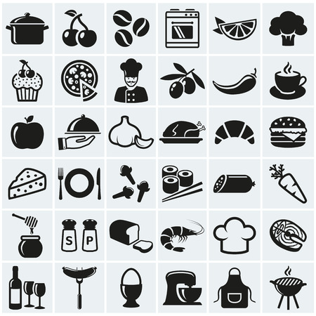 Food and cooking web icons. Set of black symbols for a culinary theme. Healthy and junk food, fruit and vegetables, spices, cooking utensils and more. Vector collection of silhouette design elements.