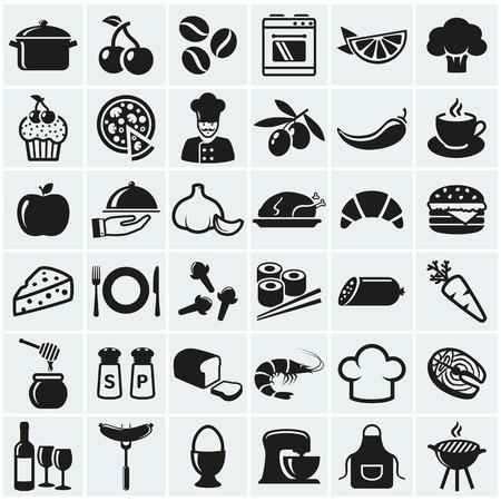 web icons alimentaires et la cuisine. Jeu de symboles noirs pour un thème culinaire. Une alimentation saine et de la ferraille, des fruits et des légumes, des épices, des ustensiles de cuisine et plus encore. collection de vecteur d'éléments de conception de silhouette.