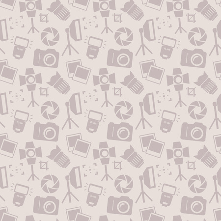 photography background: Seamless pattern with photo equipment and symbols. Background with silhouette icons for photographic theme. Vector illustration.